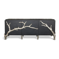 Kathy Kuo Home - Rye Beach Hollywood Regency Black Silver Branch Entertainment Media Cabinet - L - This eclectic media cabinet juxtaposes rustic and modern, black and silver, wood and cast aluminum. The eye-catching contrasts make this entertainment unit the focal point of your room. The solid wood frame uses three doors to house components on two interior shelves, while the slated back provides ample ventilation and space for cords.