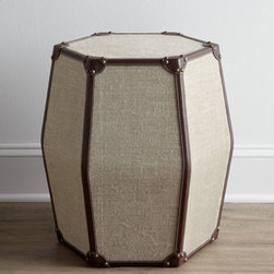 "Horchow - Chaitu Side Table - This elegant side table blends linen, brown leather, and brass tacks for a look that mimics a classic suitcase design. Handcrafted. Fame made of select hardwoods. 19""Dia. x 20""T. Imported. Boxed weight, approximately 26 lbs. Please note that this..."