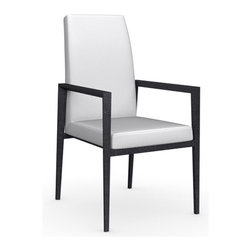 Calligaris - Bess Gummy Leather Arm Chair, Graphite Legs,  Optic White - Seat Frame Supported By Elastic Belts