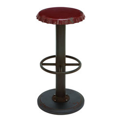 Benzara - Unique Red Bar Stool With Soda Cap Seat - Take a load off in style with a unique antique bar stool that's as comfortable as it is eye-catching. This red steel alloy bar stool features a unique seat in the shape of a soda bottle cap. A fun addition to the breakfast counter or mini bar to serve your favorite soda--or anything else for that matter.