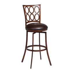 "Pastel Furniture - Piccard Swivel Barstool - The Piccard swivel barstool is beautifully crafted in quality metal Noyer finish with sturdy legs and foot rest. This barstool has a simple yet elegant design that is perfect for any decor. The padded seat is upholstered in Ford Brown offering comfort and style. Available in 26"" counter height or 30"" bar height."