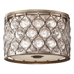 Murray Feiss - Murray Feiss Lucia Contemporary Flush Mount Ceiling Light X-SUB553MF - From the Lucia Collection, this Murray Feiss flush mount ceiling light is ideal for those who want a modern and elegant light fixture for their home. The drum shape is accentuated by a metal exterior finished in a Burnished Silver and paired with crystal-like accents. A beige fabric diffuser helps to soften the light while working together with the accents to create a dazzling appearance.