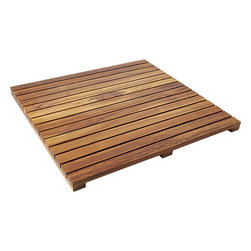 Teak Bath Mat - I find myself wanting to add a teak mat in my master bath, though I do worry about it getting slippery. It's a great way to add a bit of warmth to a cool, relaxing space — but I'll need to think on it a bit before I make the plunge.