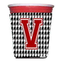 Caroline's Treasures - Monogram - Houndstooth Initial V Red Solo Cup Hugger CJ1021V-RSC - Monogram - Houndstooth Letter V Red Solo Cup Hugger CJ1021V-RSC Fits red solo cup or large Dunkin Donuts / Starbucks ice coffee cup. Collapsible Foam. (16 oz. to 22 oz. Red solo cup) Toby Keith made the cups more popular with his song. We make them nicer to carry around. The top of the cup is still exposed to add your name with a marker too. Permanently dyed and fade resistant design. Great to keep track of your beverage and add a bit of flair to a gathering. Match with one of the insulated coolers or coasters for a nice gift pack. Wash the hugger in your dishwasher or clothes washer. Design will not come off.