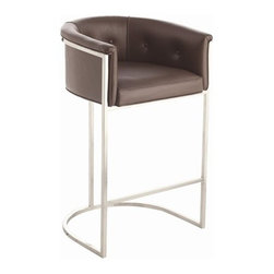Calvin Bar Stool in Brown Leather by Arteriors Home - This transitional, box style bar stool, with low curved back, is supported by a stainless steel frame with polished nickel finish and tufted leather seat.