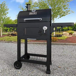 Dyna-Glo - Dyna-Glo Heavy-Duty Charcoal Grill with Cast Iron Grates - DGN405DNC-D - Shop for Accessories and Parts from Hayneedle.com! There's nothing like the taste of charcoal grilled meat and the Dyna-Glo Heavy-Duty Charcoal Grill with Cast Iron Grates is a no-hassle way to prepare burgers ribs steaks and more. The frame is made from solid steel and features casters for mobility and a bottom wire-rack shelf for storage of charcoal bags and other tools. The charcoal tray is easy to load and features a hand crank to adjust the distance of the coals to control the cooking temperature. A removable ash pan makes clean-up quick and easy. The hood features a built-in temperature gauge with a smoke-stack and flue that allow for greater temperature adjustments making sure your food is cooked perfectly every time. The cast iron coal door and hood lid are both double wall to retain heat. Side tables make a handy preparation area. The cast iron cook grates are porcelain-enameled to improve heat transfer and prevent the food from sticking. About GHP GroupGHP Group creates electric fireplaces accessories log sets and other heating options found in homes across America. With years of experience and a close attention to detail their products exceed industry standards of safety quality durability and functionality. Whether you're warming a room or just making a relaxing glow there's a GHP Pleasant Hearth product for you.
