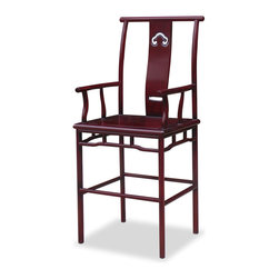 """China Furniture and Arts - Rosewood Ming Design Bar Stool - Exhibiting its pleasing simple lines in a distinct Ming (1368-1644) style. Practical and stylish, this chair is handcrafted by skillful artisans in China. Perfect seating for your bar counter. Hand applied dark cherry finish. (Seat is 27""""H from the floor)."""