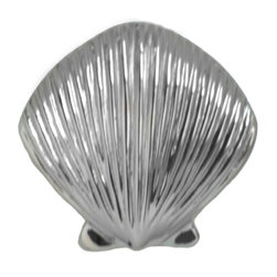Sea Life Cabinet Knobs by Peter Costello - Scallop Shell cabinet Handles - Scallop Shell cabinet knobs. Designed, Sculpted, and Cast in Pewter by Peter Costello.  Free Shipping in the United States. Finished in Brushed nickel, Chrome or Custom Powder Coat colors.