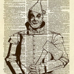Altered Artichoke - Wizard of Oz Tin Man Dictionary Art Print , Sepia - Jack Haley as the Tin Man from the 1939 classic movie The Wizard of Oz. Now you can have him to hang on your wall with this fabulous altered dictionary book page.