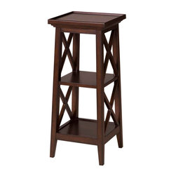 """Inviting Home - Hampton Wood Pedestal - 36""""H - Wood pedestal with two shelves; 36""""H x 13.5""""W x 13.5""""D; Wood pedestals with two shelves in Tobacco finish."""