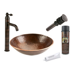Premier Copper Products - Round Old World Vessel Sink w/ ORB Faucet - PACKAGE INCLUDES: