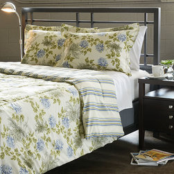 None - Water Flower Ivory 3-piece King-size Duvet Cover Set - This microfiber duvet cover set features a rich ivory color with blue accents in a traditional floral pattern. The duvet cover reverses to a striped design.