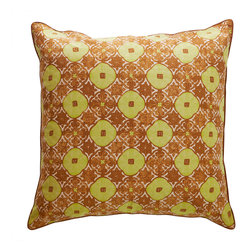 Sadas Life - Bruket Collection Pillow - Handmade cap block motif melds traditional warm brown and gold tones in an elegant lattice pattern, 26″ x 26″ Zipper closure (Pillow insert not included.)