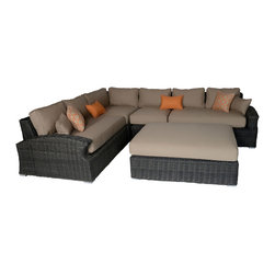 Toja - Azores deep seat sectional set - Extra deep for extra comfort. Deep seating design with a neck high back, curved arms with cutout detail to expose thick cushion. This set invites leisure. Half round woven all-weather synthetic wicker and the rustproof welded aluminum frame will make all our sets enjoyable for seasons to come. Cushions are made with thick high density foam and poly-filled. Sunbrella fabric cushions are all-weather and stain, fade, and mildew resistant.