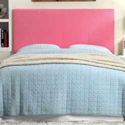 Furniture of America - Simplistic Sally Leatherette Headboard - Pink - IDF-7008PK-HB-T - Shop for Headboards and Footboards from Hayneedle.com! Sassy pink and ultra mod the Simplistic Sally Leatherette Headboard - Pink is a fun choice for her room. This rectangular headboard is versatile. It may be mounted to the bed or wall. It's built durable from solid wood and padded for comfort. The vibrant pink leatherette upholstery is tufted for style. Choose from available headboard size options. Headboard Dimensions: Twin: 42W x 3D x 43H in. Queen: 64W x 3D x 43H in. About Furniture of AmericaBased in California Furniture of America has spent more than 20 years establishing itself as a premier provider of fine home furnishings to urban-minded shoppers. The people behind the brand are moved by passion hard work and persistence and their company's mission is to design the latest piece and offer high-quality furniture to trendy shoppers without compromising packaging integrity. Furniture of America offers unique coordinated and affordably designed furniture - not to mention exceptional style.
