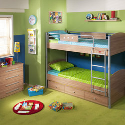 Modern Wood - This elegantly designed bunk bed features a wood finish and aluminum detailing. It offers many advantages for small spaces thanks to its compact dimensions.