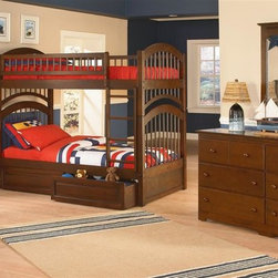 Atlantic Furniture - Windsor Twin Over Twin Bunk Bedroom Set - Includes Windsor twin over twin bunk bed, Windsor 6 drawer dresser with portrait mirror and Windsor 4 drawer tier bookshelf. Optional underbed raised panel drawers not included. Made of premium, eco-friendly solid hardwood with a 5-step finishing process. Bed features 26-steel reinforcement points, solid hardwood Mortise & Tenon construction and boasts long arches and 3 in. corner posts. Guard rails match panel design. Meet or exceed all ASTM bunk bed Standards, which require the upper bunk to support 400 lbs.. Metal drawer glides. Rear box joint on all drawers. French dovetail joinery on all drawer fronts. Built to last. No assembly required. Pictured in Antique Walnut set. Bed: 79.75 in. L x 42.75 in. W x 71 in. H. Bed Clearance from floor without trundle or storage drawers: 11.25 in.. Dresser: 54 in. W x 17.5 in. D x 30 in. H. Mirror: 29.88 in. L x 2 in. W x 41.88 in. H. Bookshelf: 32.5 in. W x 12 in. D x 54.38 in. H. Optional flat panel drawers: 74 in. L x 22 in. W x 12 in. H. Optional raised panel drawers: 74 in. L x 24.38 in. W x 12 in. H. Optional raised panel trundle: 74.75 in. L x 40.38 in. W x 11.63 in. H. Bunk Bed Warning. Please read before purchase