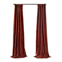 """Exclusive Fabrics & Furnishings, LLC - Paprika Faux Silk Taffeta Curtain - 56% Nylon & 44% Polyester. 3"""" Pole Pocket with Hook Belt. Lined. Interlined. Imported. Weighted Hem. Dry Clean Only. SOLD PER PANEL."""