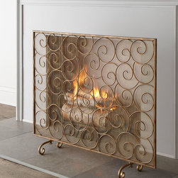 """Horchow - """"Golden Swirl"""" Fireplace Screen - GOLD - """"Golden Swirl"""" Fireplace ScreenDetailsA dance of elaborate scrolls and delicate scroll legs form an intriguing fireplace screen to add romance to your hearth.Handcrafted of iron with mesh screen.Hand-painted antiqued-gold finish.For decorative use only.42""""W x 9""""D x 33""""T.Imported.Boxed weight approximately 20 lbs. Please note that this item may require additional delivery and processing charges."""