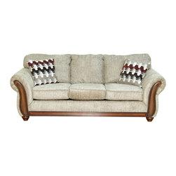 Royola Pacific - Beige Plush Contemporary Sofa & Loveseat, Sofa - Solid hardwood construction
