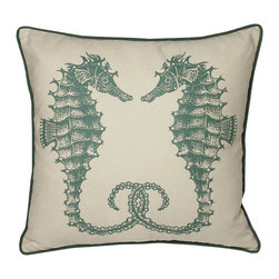 Kevin O'Brien Studio - Nautical Seahorses Pillow, South Pacific - Our brightly colored nautical prints are screen printed onto 100% linen; piped edging; zip closure; feather/down insert included; designed in Philadelphia and made in Nepal