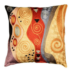 """Modern Silk - Klimt Tree of Life Accent Pillow Cover Hand Embroidered 18"""" x 18"""" - This exquisite cushion cover composition brings three of Modern Artist Gustav Klimt's favorite elements together -- the Tree of Life motif, the Soul, and the color red. Stunningly designed and handcrafted by a Kashmiri artisan, this embroidered accent pillows deserves to grace your décor. Such a stand-out article will draw lots of attention. Uniquely handcrafted this accent modern pillow cover will make an exceptional addition to your beautiful home or refresh your patio with the inclusion of this contemporary pillow."""