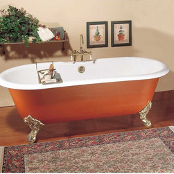Renovators Supply - Clawfoot Tubs Black Cast Iron Clawfoot Dual Tub No Holes No Feet - Clawfoot Tubs. Victorian clawfoot tubs add an authentic period look to any vintage bathroom. Crafted from extra thick cast iron 5/16 in., these claw foot tubs retain heat. Authentic WHITE porcelain interior glaze with primed black exterior ready to paint (use oil base paint) to match your decor. These Victorian clawfoot tubs do not come with clawfeet. Center drain hole location, there are no drilled faucet holes. This claw foot tub accepts free-standing floor or wall-mount faucets, sold separately. The double ended claw foot tub is designed for two people with curved roll top rims on both ends creating a more comfortable resting position for both of you. Clawfoot tub price includes crating, lift gate service, and shipping within the contiguous 48 states of the U.S. For in-home delivery quotes, call customer service 1-800-659-2211.