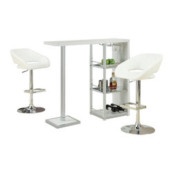 Monarch Specialties - Monarch Specialties 3 Piece 48x16 Bar Table Set with Swivel Barstools in White - This stylish and contemporary bar table encompasses a cool feel ideal for entertaining your guests. This piece features a spot to hang individual glasses, a top surface ideal for making cocktails, and two glass shelves that are perfect to stock all of your bar essentials and one with a convenient wine rack. The polished glossy white surfaces and chrome metal accents complete the look of this unit, making it a must-have item. What's included: Bar Table (1), Barstool (2).