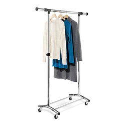Honey Can Do - Commercial Chrome Garment Rack - Adjustable width- extra hanging space. Adjustable height- hang long dresses & coats. Heavy-duty steel frame- sturdy & rust-resistant - Hols up to 60 lbs. Commercial quality casters- easy to move. 14.84-22.32 in. x 7.36 in. x 17.64-25.89 in.