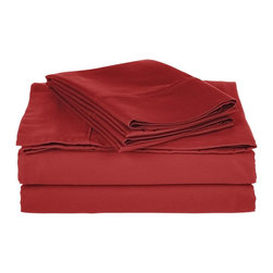 800 Thread Count Queen Sheet Set Solid Cotton Rich - Burgundy - Dress up your bedroom decor with this luxurious 800 thread count Cotton Rich sheet set. A superior blend of materials makes these sheets soft, easy to care for and wrinkle resistant.