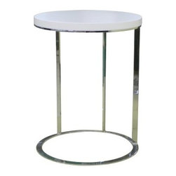 Julia Side Table - Classically modern, the Julia Side Table is sleek, stylish, and practical. This side table has a polished chrome, circular frame topped with a wood veneer top. Comes in your choice of contemporary color. About Whiteline:With a product line that includes prime leather sofas, comfortable beds, and elegant dining room furniture, Whiteline delivers modern and contemporary styles along with cozy comfort. Whiteline has 15 years of experience building furniture, along with a worldwide network of skilled manufacturers to help them give you the best value for your money. And their huge collection of designs is sure to have something to suit your contemporary tastes.