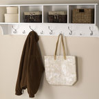 Prepac - White Hanging Entryway Shelf - Suitable for any front hallway, foyer or mudroom. Four compartments provide ample storage. Fill with baskets, gloves, mittens, hats and books. Five large and four small hooks to hang jackets, coats, hoodies, sweaters, bags and purses. Easy to install with two-piece hanging rail system. Weight capacity: 60 lbs.. Warranty: Five years. White finish. Made in North America. Cubbie: 13.5 in. W x 10 in. D x 8.75 in. H. Overall: 60 in. W x 11.5 in. D x 16.5 in. HIdeal for an ever expanding household, the hanging entryway shelf will keep your entryway belongings together in one place!