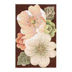 """Nourison - Nourison Fantasy FA06 1'9"""" x 2'9"""" Multicolor Area Rug 01175 - Ravishing roses bloom in an arresting bouquet of pale pink, peach, white and silvery green, on a rich chocolate brown background. Lavishly hand-carved and hand-hooked with high-density yarns, this transitional rug boasts dramatic dimension and texture."""