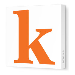 """Avalisa - Letter - Lower Case 'k' Stretched Wall Art, 18"""" x 18"""", Pumpkin - Spell it out loud. These lowercase letters on stretched canvas would look wonderful in a nursery touting your little one's name, but don't stop there; they could work most anywhere in the home you'd like to add some playful text to the walls. Mix and match colors for a truly fun feel or stick to one color for a more uniform look."""