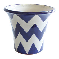 "Zigzag Planter, Blue/White, 12"" X 10"" - That favorite jade plant now has a new home: This planter adds a pop of bold color and pattern with its zigzagging chevron stripes. Place it on a patio, deck or in the garden to hold your potted plants."