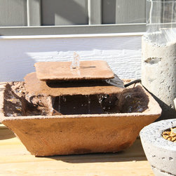 Concrete art and design - This table top fountain is perfect for indoors or outdoors,  Set it on a table or on the floor.  It's great for small spacesas well.  Listen to the sound of gentle water in your favorite space.