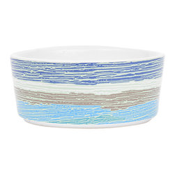 waggo - Watercolor Dog Bowl, Sunset - Get ready for day of night with this heavy ceramic dog dish!