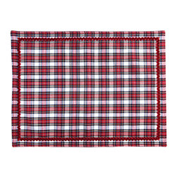 Plaid Placemat - Juxtaposing richness with charm and cheer, the Plaid Placemat is a substantial touch for your table linens in festive red and white plaid, trimmed in a tactile velvet version of playful rick-rack ribbon. This high-end take on classic Christmas details mixes urbane geometry with countryside charisma, offering a versatile but celebratory foundation for place settings.