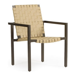 Woodard Salona Strap Dining Chair - Set of 2 - Made with a classic strap design that never goes out of style, the Woodard Salona Strap Dining Chair - Set of 2 is a wide, comfortable chair that is perfect for your patio. Designed for either lounging in or pulling up to a dining table for a good meal, this dining chair is made to last. It's wonderful for use by the pool, too, thanks to its quick-dry design. Crafted from the finest cast aluminum, these chairs come in your choice of finish and vinyl strap color so you can easily customize these chairs. You'll enjoy taking time out of your day to relax out back with a cold drink and a good book, or spending time with your closest friends and family whether you're eating or just enjoying good conversation. Made so that these chairs can complement your current patio decor, they're a great addition to any backyard.Additional FeaturesCrafted from the purest aluminum extrusionsUses the highest grade and most resilient aluminum ingotsIngots strengthen the furniture, making it very malleableImportant NoticeThis item is custom-made to order, which means production begins immediately upon receipt of each order. Because of this, cancellations must be made via telephone to 1-800-351-5699 within 24 hours of order placement. Emails are not currently acceptable forms of cancellation. Thank you for your consideration in this matter.Woodard: Hand-crafted to Withstand the Test of TimeFor over 140 years, Woodard craftsmen have designed and manufactured products loyal to the timeless art of quality furniture construction. Using the age-old art of hand-forming and the latest in high-tech manufacturing, Woodard remains committed to creating products that will provide years of enjoyment.Superior Materials for Lasting DurabilityIn the Aluminum Collections, Woodard's trademark for excellence begins with a core of seamless, virgin aluminum: the heaviest, purest, and strongest available. The wall thickness of Woodard frames surpasses the industry's most rigid standards. Cast aluminum furniture is constructed using only the highest grade aluminum ingots, which are the purest and most resilient aluminum alloys available. These alloys strengthen the furniture and simultaneously render it malleable. The end result is a fusion of durability and beauty that places Woodard Aluminum furniture in a league of its own.Fabric, Finish, and Strap Features All fabric, finish, and straps are manufactured and applied with the legendary Woodard standard of excellence. Each collection offers a variety of frame finishes that seal in quality while providing color choices to suit any taste. Current finishing processes are monitored for thickness, adhesion, color match, gloss, rust-resistance and, and proper curing. Fabrics go through extensive testing for durability and application, as well as proper pattern, weave, and wear.Most Woodard furniture is assembled by experienced professionals before being shipped. That means you can enjoy your furniture immediately and with confidence.Together, these elements set Woodard furniture apart from all others. When you purchase Woodard, you purchase a history of quality and excellence, and furniture that will last well into the future.