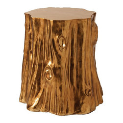 Tree Stump Stool - I love the earthiness of this gold metallic tree stump. Perfect for extra holiday party seating.