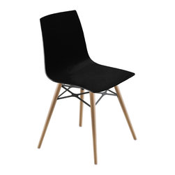 PAPATYA - PAPATYA X-TREME S WOX CHAIR, Set of 2, Solid Black W/ Natural Beech Frame - Wox version of X-Treme S is a modern and innovative chair with the polycarbonate shell and the round wooden frames. Available in solid and transparent colours. Suitable for home and office use. Indoor use only. Priced as Set of 2.