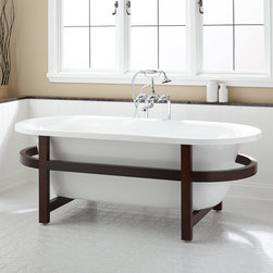 """68"""" Poynter Acrylic Tub - Wood Frame - A striking wood stand is the focal point of the contemporary 68"""" Poynter Acrylic Tub. This freestanding acrylic bathtub will easily pair with a contemporary faucet for a complete look in your bathroom."""
