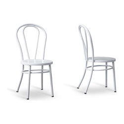 Baxton Studio - Baxton Studio Saxony Steel Contemporary Dining chair-Set of 2 - Stately and subdued all at the same time, our Saxony Steel Contemporary Dining chair delivers on the promise of modern furniture that extends beyond mere fad. Glossy white exterior and powder-coated steel construction combine to create a curvaceous and completely contemporary design.