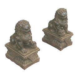 """Golden Lotus - Pair Chinese Hand Carving Dark Green Marble FenShui Foo Dogs - This is a beautiful pair of dark green color marble foo dog. The male foo dog has an embroidered ball under its paw and the female has a baby foo dog. Its carving is very detail, even their paws, bodies, and face.  There also have very beautiful carving detail on the base.  You can put this pair of foo dog at the front of your house or garden.  In Chinese culture, the """"Fen Shui"""" foo dog can protect the people who are living the house."""