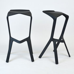Pair of Miura Barstools by PLANK - Made in Italy / Designed by Konstantin Grcic - Dimensions:L 15''  × W 12''  × H 32''