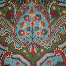 Crewel Fabric World by MDS - Crewel Fabric Paisley Tapestry Blue Cotton Duck- Yardage - Fabric Type: Cotton Duck