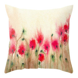 Brazen Design Studio - Decorative Pillow Cover - Field of Poppies - Floral Throw Pillow Cushion, 20x20 - Liven up your space with a fine art pillow cover featuring my original artwork! This listing is for one pillow cover featuring my vibrant watercolor painting, on 100% spun designer polyester poplin fabric, a stylish statement to brighten up any room.