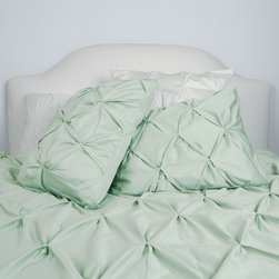 Crane & Canopy - 400 Thread Count Pintuck Duvet Cover, The Valencia Sea Foam Green - Full of volume and elegance, this 400 thread count sea foam green pintuck duvet will add textural dimension to subtly bring your room to life.  Multiple pintucks are sewn to perfection.