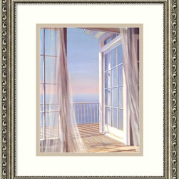 "Amanti Art - ""Sea Breeze I"" Framed Print by Carol Saxe - Your new open door policy, as stated in this beautiful print, lets you freely trade stress for peace, blank wall for ocean horizon. Framed in an antique silver finish, this print will be right at home with your office or home furnishings."