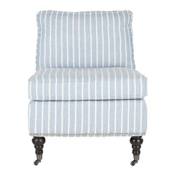 Safavieh - Randy Slipper Chair - Blue With White Stripes - Slip into something that��_s comfortable, and as breezy a coastal cottage. Adorned with blue and white stripes on linen blend fabric, the low-slung Randy slipper chair is upholstered with plump seat and back cushions for easy-going allure. Carefully wrought spindle birch wood legs with espresso finish, and chic silver nailhead trim complete the look. With casters for easy mobility, this versatile slipper chair fits in anywhere, from a chic loft living room to a seaside bedroom.